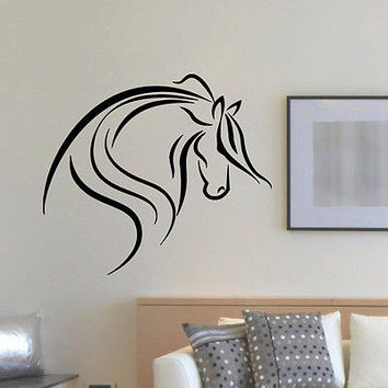 WALL DECAL VINYL STICKER ANIMAL HORSE HEAD DECOR SB884