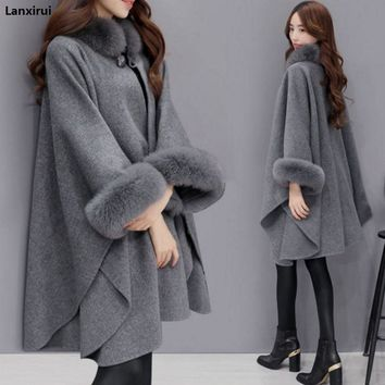 Ponchos and Capes Women Christmas Fashion Flare Sleeve Faux Fox Fur Collar Winter Wool Cloak Cape Coat Poncho Long Overcoat