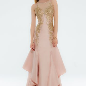 Mikado Trumpet Gold Applique Dress from Camille La Vie and Group USA