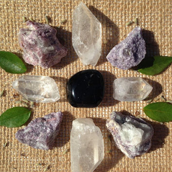 Crystal Set Beginners Collection Crystal Kit healing crystals and stones  Grid Stones Crystal Collection Lepidolite collection