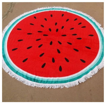 """Fun in the Sun"" Fringe Trim  Watermelon Round Beach Towel"