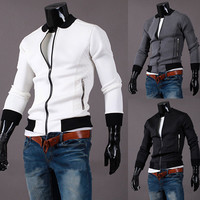 Men Slim Casual Zippers Hoodies Jacket [6528702915]