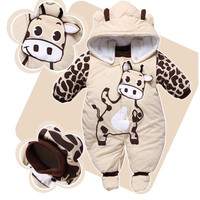 Jumpsuit + Hat + Shoes Animal Style Warm Hooded Baby Rompers Winter Boys Girls Clothes Outfits Newborn Clothing