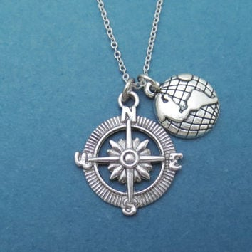 Traveller, Necklace, Globe and Compass, Earth, Silver, Necklace, Compass necklace, Jewelry, Gift, Travel, Long distance relationship