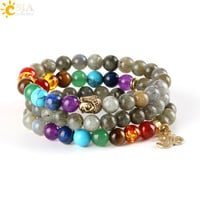VIP CSJA 8mm Women Men Bangles Real Labradorite Spectrolite Beaded Bracelets Natural Stone Loose 7 Chakra Meditation Beads OM Buddha Charms E447