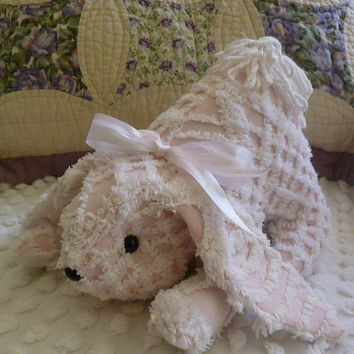 Upcycled Vintage Chenille Bedspread Bunny - Pink & White