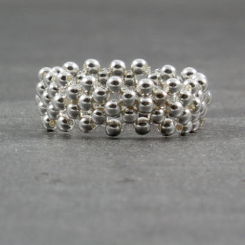 Sterling Silver Ring Silver Band Ring Sterling Beaded Ring Beadwork Jewelry
