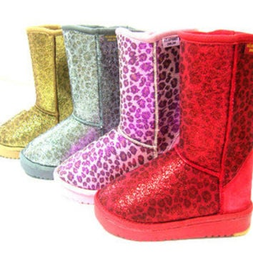 womens winter fur boots leopard sparkles glitter sequin Gold Silver Pink Red