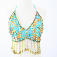 vintage BOHO beaded COIN belly DANCER bra top