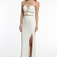 Beaded Illusion Dress with Sweep Train