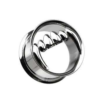 Vicious Fang Hollow Steel Double Flared Ear Gauge Plug