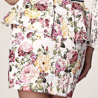 Aoki Fashion - Multi-Color Floral Print Peplum Skirt