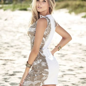 Palm Print Beach Dress - White