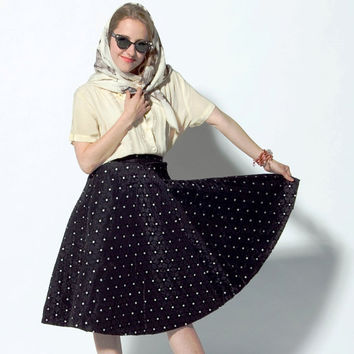 Vintage 1950s Black & White Star Polka Dot Circle by BasyaBerkman