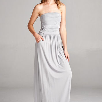 Simple and Stylish Maxi Dress - Cement