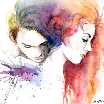 Watercolor painting  Jack and Rose  Titanic movie by sookimstudio