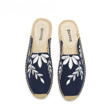 Soludos Floral Embroidered Mule Slide in Midnight - Soludos Espadrilles