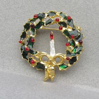 Christmas Wreath with Candle Red Glass Cabochon & Enamel Vintage Pin