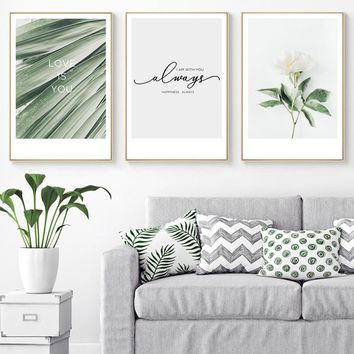 SURE LIFE Nordic Flower Canvas Painting Romantic Love Quotes Green Leaf Poster Wall Art Pictures for Bedroom Home Decoration