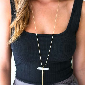 In the Clear Stone Gold Tassel Necklace