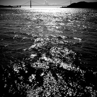Golden Gate Bridge, San Francisco, Black & White photograph from the water, photographic art, for home and office décor. Title is: 112