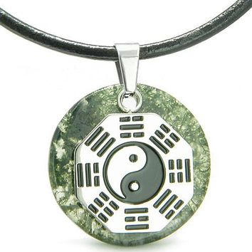 Yin Yang BA GUA Eight Trigrams Amulet Green Moss Agate Gemstone Circle Positive Leather Necklace