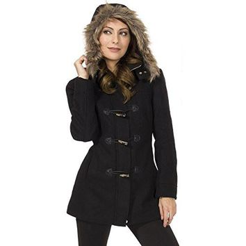 Alpine Swiss Duffy Women's Black Wool Coat Fur Trim Hooded Parka Jacket Medium