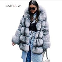 SMFOLW 2018 New Fashion Winter Warm Women Faux Fur Coat Long Jacket Female Long Sleeves Long Fur Coat Grey