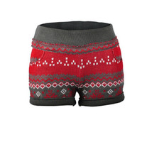 New Winter Wool Christmas Elastic Knit Shorts