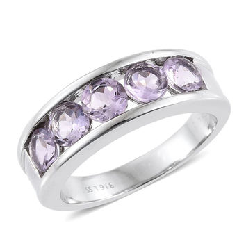 Rose De France Amethyst 5 Stone Stainless Steel Ring