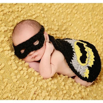 Newborn Little Bat Baby Cover Cape Hat and Mask Crochet Photo Prop Super Hero Set = 1927962564