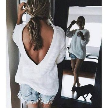 MDIGHQ9 Open V-back Sweater Loose Pullover Women Basic Casual Knitwear