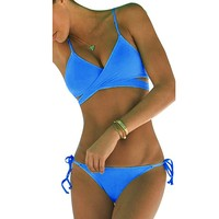 Women's Summer Sun Beach Swim Bandeau Triangle Push-Up Padded Bikini Suit