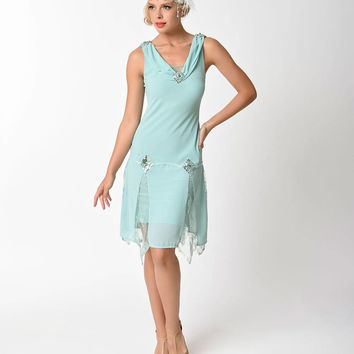 Unique Vintage 1920s Style Mint Hemingway Flapper Dress