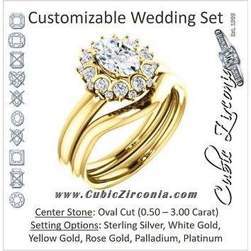 CZ Wedding Set, featuring The BettyJo engagement ring (Customizable Oval Cut featuring Cluster Accent Bouquet)