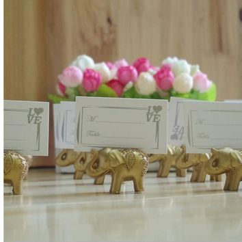 Gold Lucky Elephant Place Card Holders/Photo Holder 10pcs