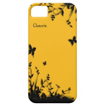 Saffron Yellow Butterfly Garden Personalized iPhone SE/5/5s Case