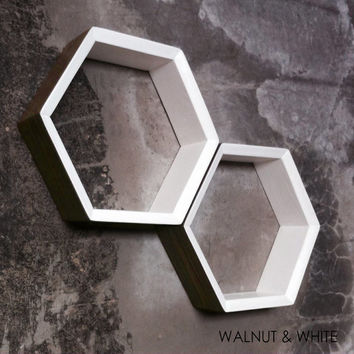 "SALE Set of 3 Hexagon Shelves  - 12"" Angle Edge LARGE  Hexagon Shelf 