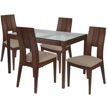 Winslow 5 Piece Walnut Wood Dining Table Set with Glass Top and Curved Slat Keyhole Back Wood Dining Chairs - Padded Seats