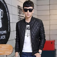 Autumn Winter Plaid Para Hombre Stand Collar Pu Leather Jacket