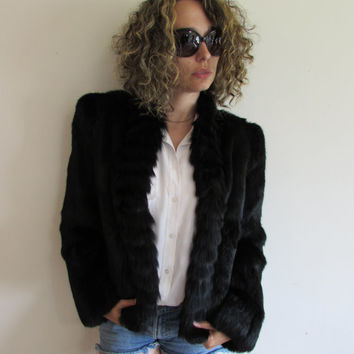 Vintage Black Rabbit Fur Rocker Jacket Coat Structured Shoulders