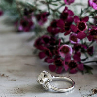 Iris flower ring - sterling silver ring - proposal ring - promise ring - nature jewelry - romantic jewelry, floral jewelry, handcrafted ring