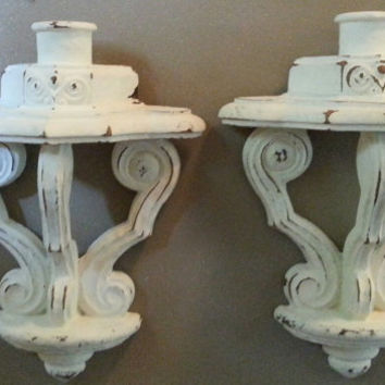 Pair of Vintage Shabby Chic Wall/Candle Sconces