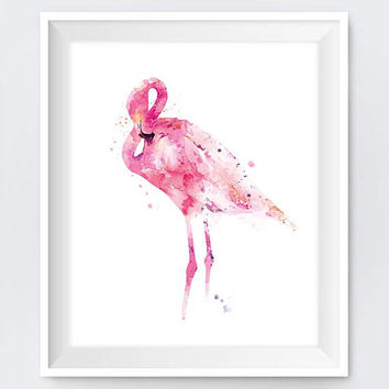 Flamingo Print, Watercolor, Pink Flamingo, Painting, Bird, Art, Pretty, Nursery Wall Art, Flamingo Decor, Animal Art, Gift, Digital Download