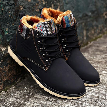 2016 new Mens Winter Boots botas hombretimber Fashion Ankle booties mens snow Men's boots winter warm boots men