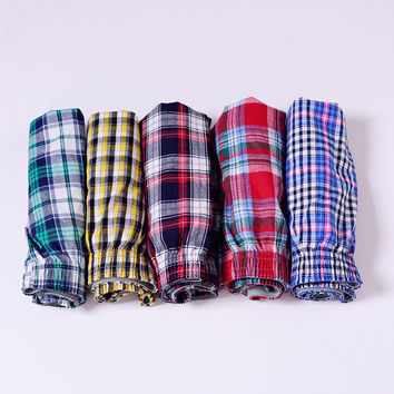 High Quality Plaid Men Boxer Shorts Mens Underwear Cotton Underwear Boxers for male