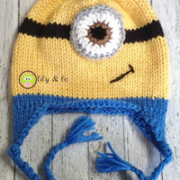 Knitted Minion Ear Flap Hat, FREE US Shipping!