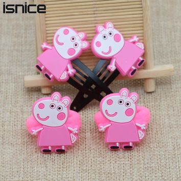 isnice 4pcs/lot ,Hair ornament Colorful headband Children Pig Hair Accessories Little Ponys Hair Clip Cartoon Kids Hairpins