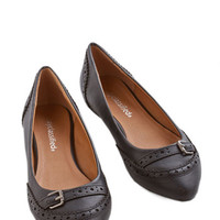 ModCloth Menswear Inspired Unmatched Charm Flat in Black