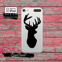 Black Deer Silhouette Hunting Antlers Doe Case for Clear Transparent Rubber iPod Touch 5th Generation Case 5th Gen Cover or iPod 6th Gen